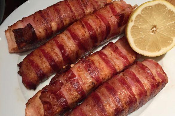 Fried salmon pancetta