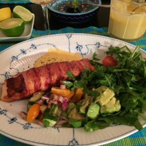 fried salmon pancetta served